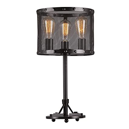 Warehouse of tiffany t1735 3 furolee black rounded mesh table lamp 23 6 x