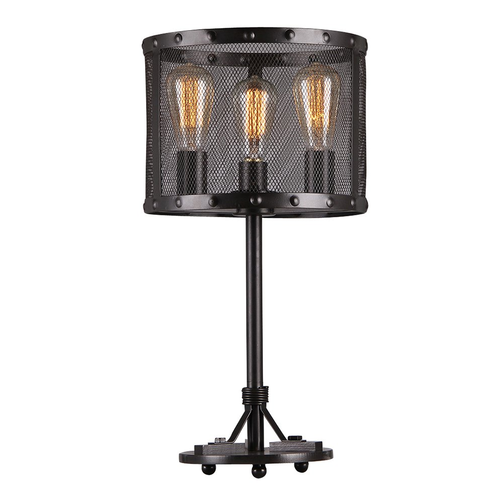 Warehouse of Tiffany T1735-3 Furolee Black Rounded Mesh Table Lamp, 23.6'' x 11.8'' x 11.8''