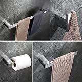 POP Bathroom Hardware Accessory Set Chrome (Pack Of 4), Stainless Steel Wall Mounted, Toilet Paper Roll Holder, Double Bath Towel Bar, Hand Towel Rack Hanger And Robe Hook