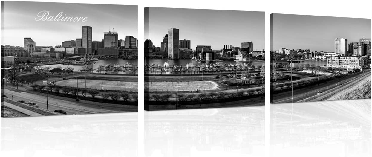 3 Pieces Canvas Paint Panoramic View of Baltimore Skyline Sunset Wall Pictures for Living Room Cityscape Black and White Wall Art Bedroom Wall Decor Framed and Ready to Hang 12x16 inch x 3