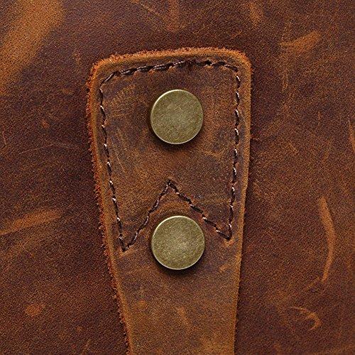 Valuker 1807ka Herren Damen Messenger Bags Handtasche Aktentasche Büffel Leder Tasche Schultertasche Umhängetasche (Kaffee) Kaffee lye3py3