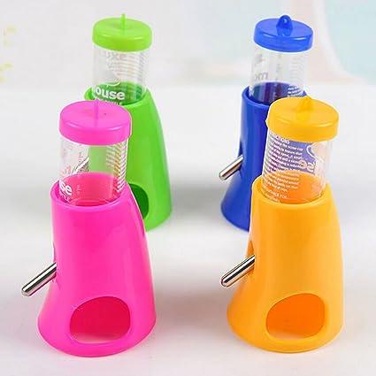 693b4903e2b6 She-love 2 in 1 Hamster Water Bottle Holder Dispenser With Base Hut Small  Animal Nest, Random Color, 1 Pc