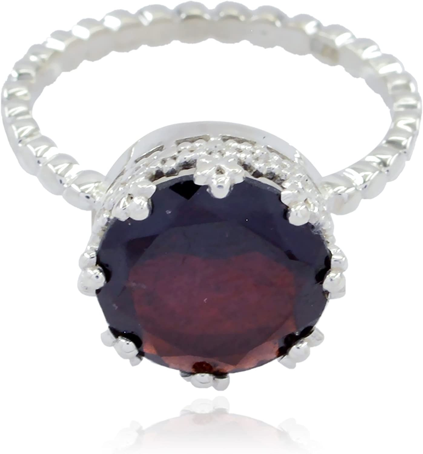 925 Sterling Silver Red Garnet Lucky Gemstone Ring jents Jewelry Good Item Gift for Girlfriend Bohemian Lucky Gemstone Round Faceted Garnet Ring