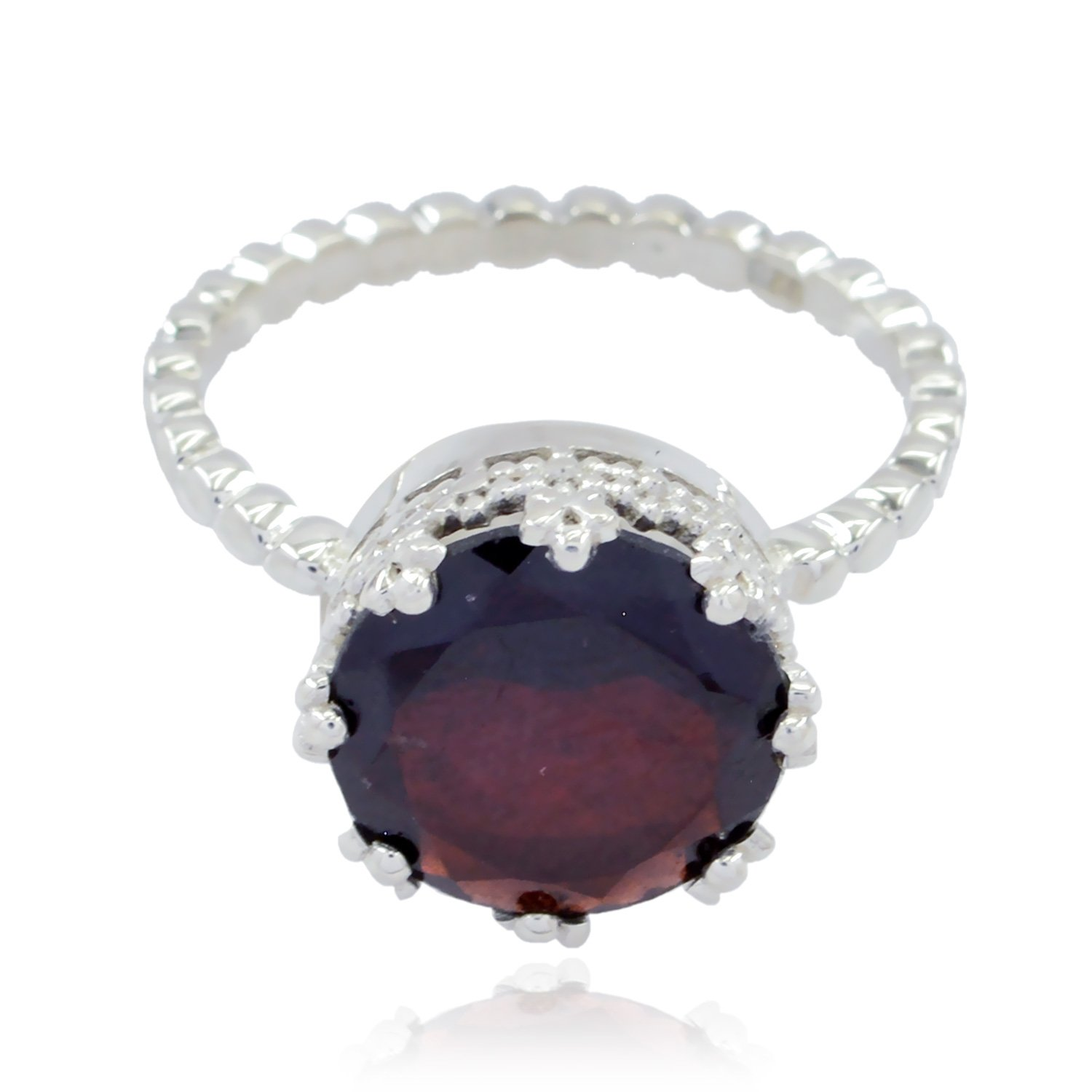 Lucky Gemstone Round Faceted Garnets Ring - Fashion Silber Red Garnets Lucky Gemstone Ring - jents Jewelry Good Item Gift for Girlfriend Bohemian -US 14.5
