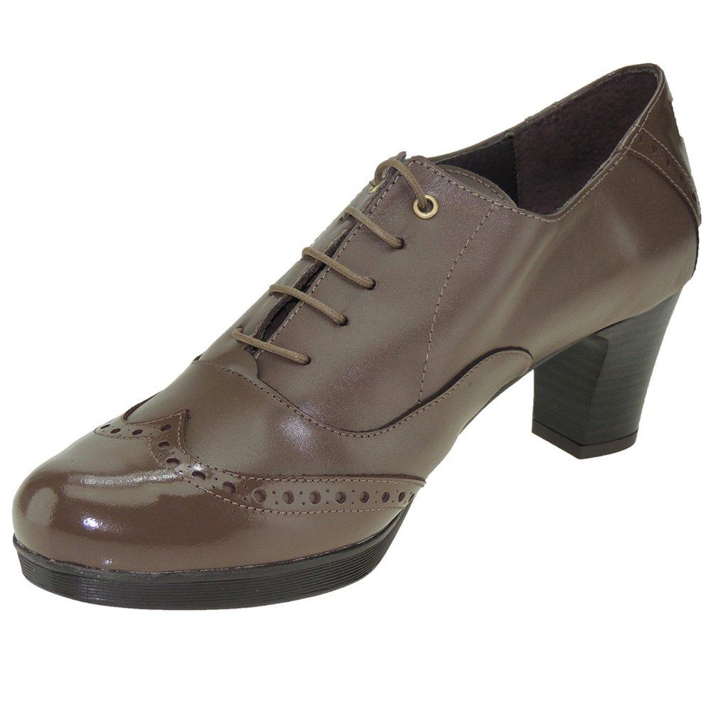 GANXO. Zapato Oxford con Tacón de 6 CM y Plataforma para Mujer - Modelo 331GX 39 EU Taupe
