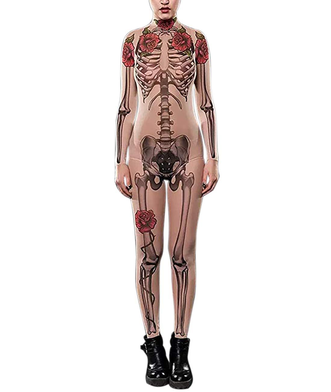 Idgreatim Women Halloween Costume 3d Print Long Sleeve Skinny