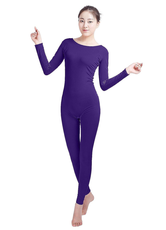 SHINNINGSTAR Womens Well-fit Spandex Lycra Bodysuit Long Sleeve Scoop Neckline Footless Dance Unitard