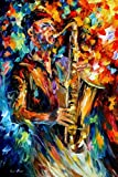 THE SOUL OF SAXOPHONE is an Original Oil Painting on Canvas by Leonid Afremov Picture