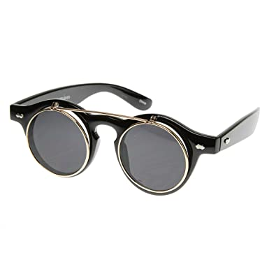 914de5e2f4 zeroUV - Small Retro Steampunk Circle Flip Up Glasses / Sunglasses (Black  Gold)
