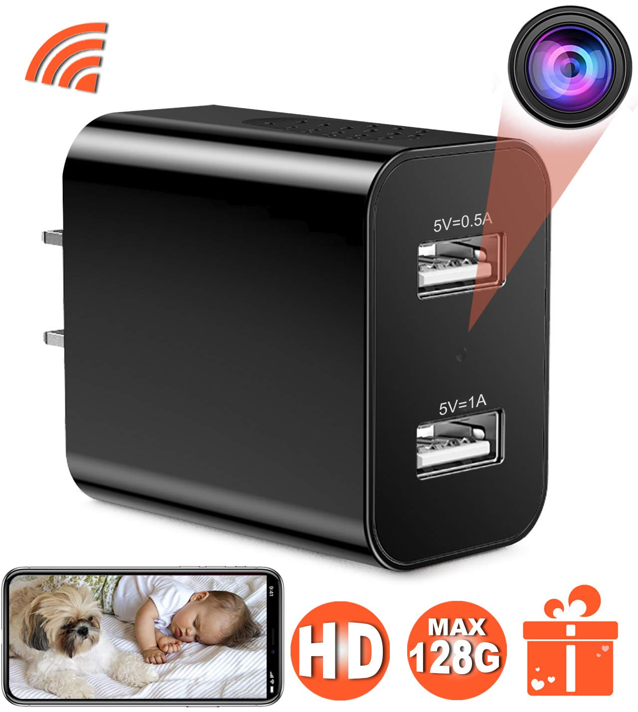 [Upgraded 2019] Spy Hidden Camera with Remote Viewing, USB Charger WiFi Nanny Camera 1080P HD H.264 with Motion Detection for Home Office Security Surveillance, No Audio