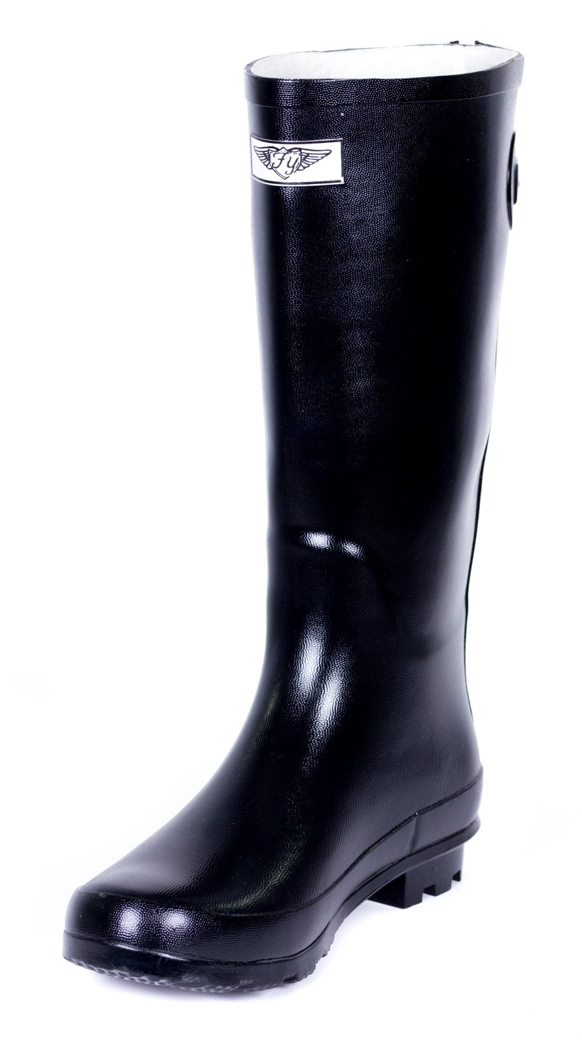 Women Classic Rubber Rain Boots /w Zipper Designs by Forever Young B00GY2NCM6 8 B(M) US|Black