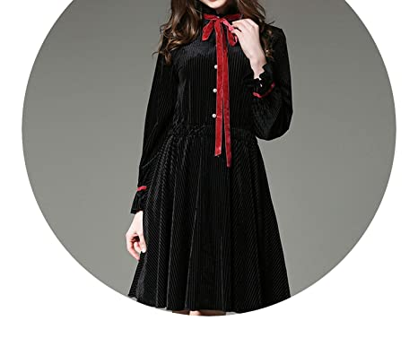 Clothes Women Bowknot Velvet Winter Dress Vestidos Mujer Elastic Waist Long Sleeve Black K3191,Black