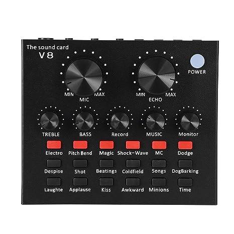Tarjeta de sonido, Femate tarjeta de sonido V8 Live con mezclador sonido portátil portátil, dispositivo cambiador de voz para PS4 / ...