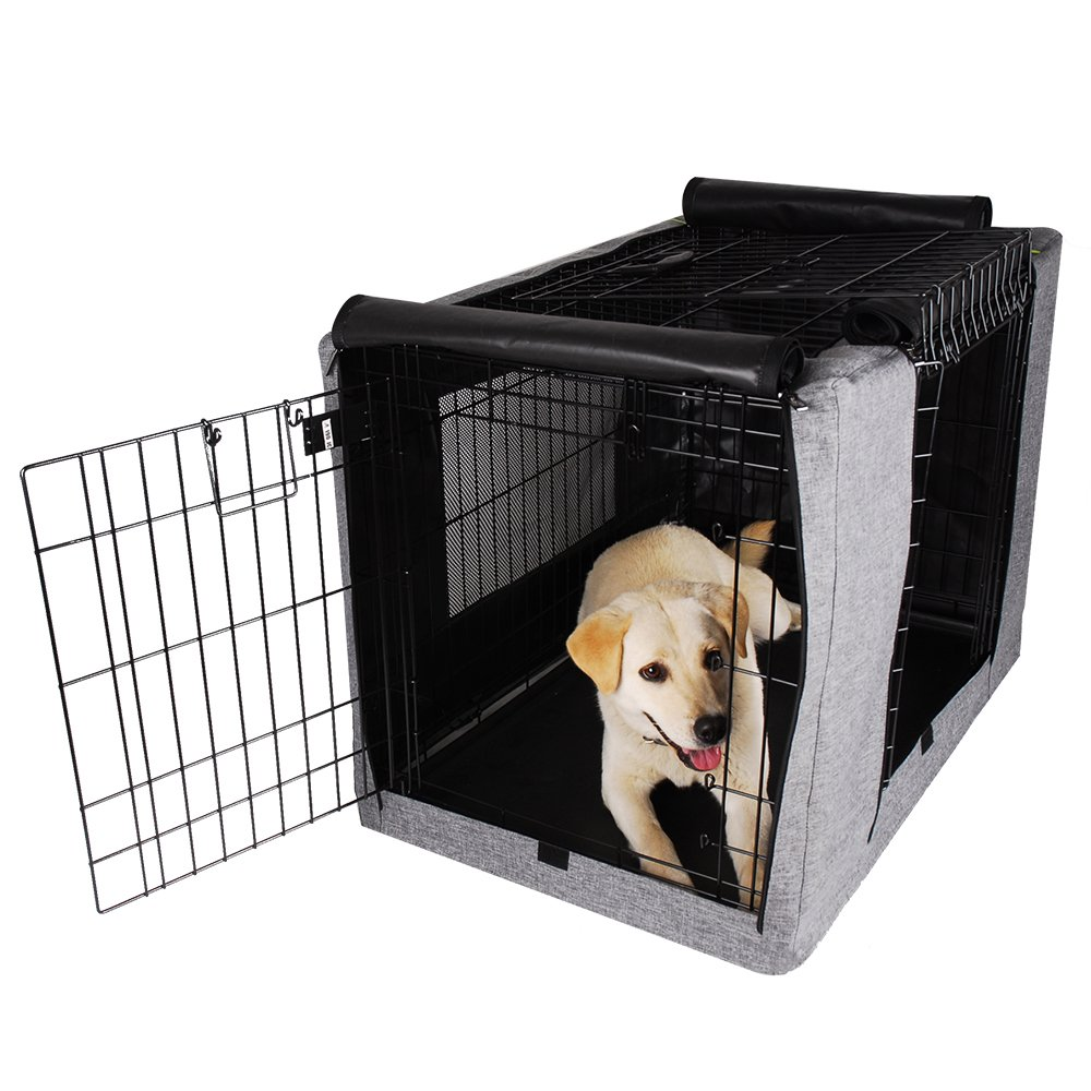 Petsfit Crate Cover for 36 Inches Wire Crates,36'' Lx23 Wx25 H,Two Doors (Grey)