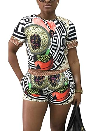 727d692f643 Mojessy Women's Short Sleeve Print 2 Pieces Outfit Crop Top+Shorts Set  Rompers Medium Floral