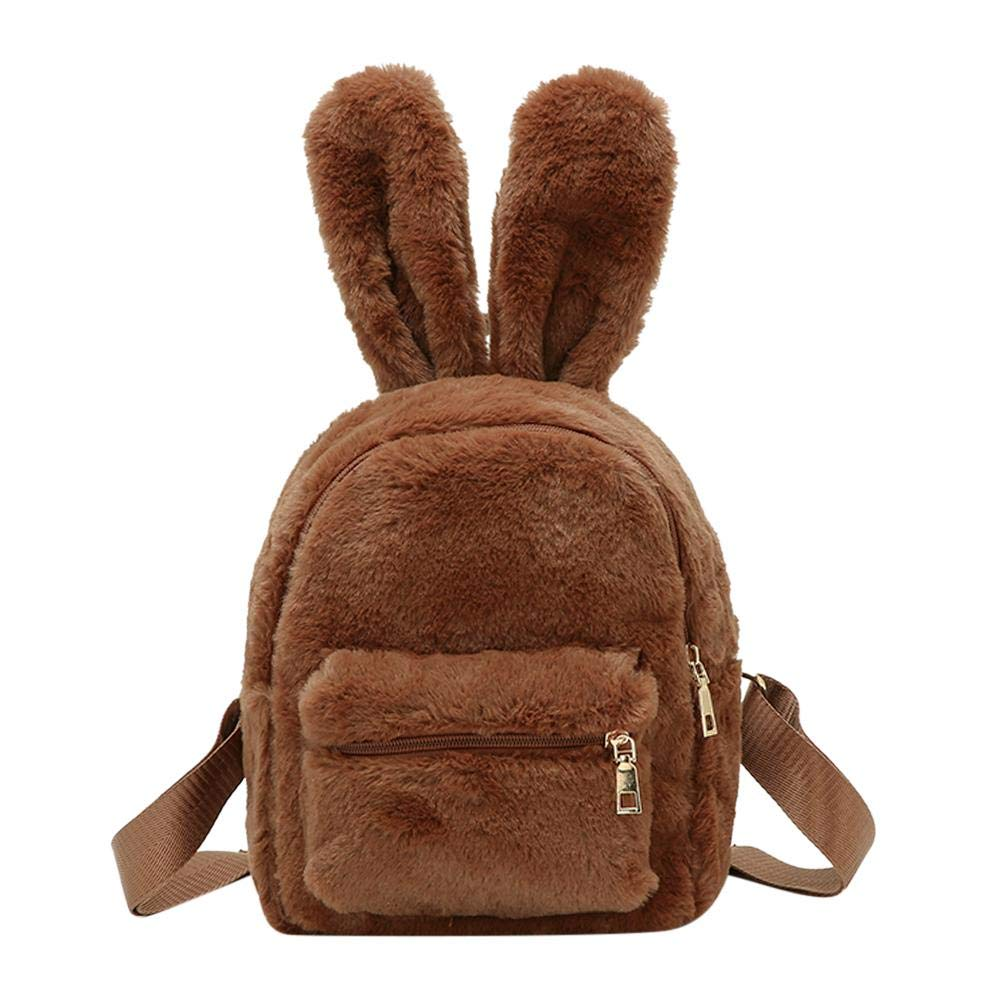 Tuankay Cute Faux Fur Mini Backpack Rabbit Ear Women Travel Plush Shoulder Handbags Tuanlay
