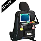 Pushingbest Car Back Seat Organizer with Clear Tablet Holder Touch Screen Pocket Foldable Car Dining Table Multifunctional Back Seat Organizer for Kids (Black) 1 PC