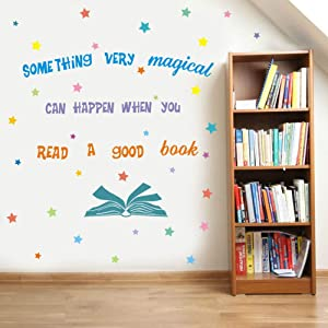 IARTTOP Something Very Magical Can Happen When You Read A Book Wall Decal, Colorful Stars Inspirational Quote Sticker for Classroom Kids Room Library Decor