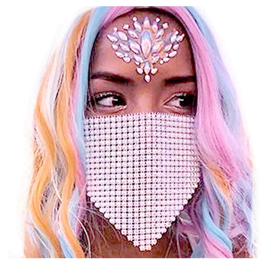Fstrend Sparkly Rhinestone Mesh Mask Chain Crystal Masquerade Masks Ball Party Nightclub Face Necklace Venetian Mardi Gras Jewelry for Women and Girls (White)