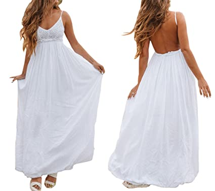 bb0a3a91fd74 Women Dress White Backless Lace Spaghetti Strap Sexy Maxi Dresses for  Wedding Party Gown at Amazon Women s Clothing store
