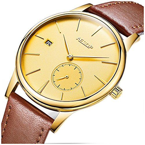 Transparent Gold Watch (Ultra-Thin Watches Men Simple Design Automatic Mechanical Waterproof Transparent Sapphire Glass Stainless Steel Wristwatch (Brown Leather Strap with Gold Dial))