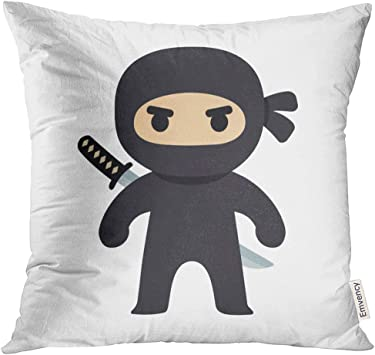 VANMI Throw Pillow Cover Black Anime Cartoon Ninja Drawing in Chibi Manga Style Cute Man Angry Decorative Pillow Case Home Decor Square 16x16 Inches ...