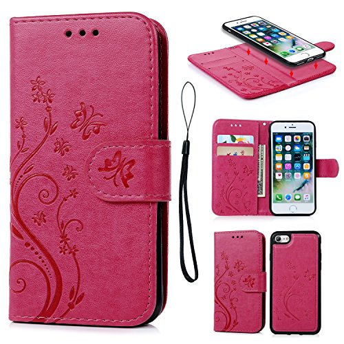 iPhone 7 Case, iPhone 7 Wallet Case PU Embossed Butterfly Flower Leather Detachable Wallet with Card Holder and ID Slot Cover for iPhone 7 4.7 inch Hot Pink