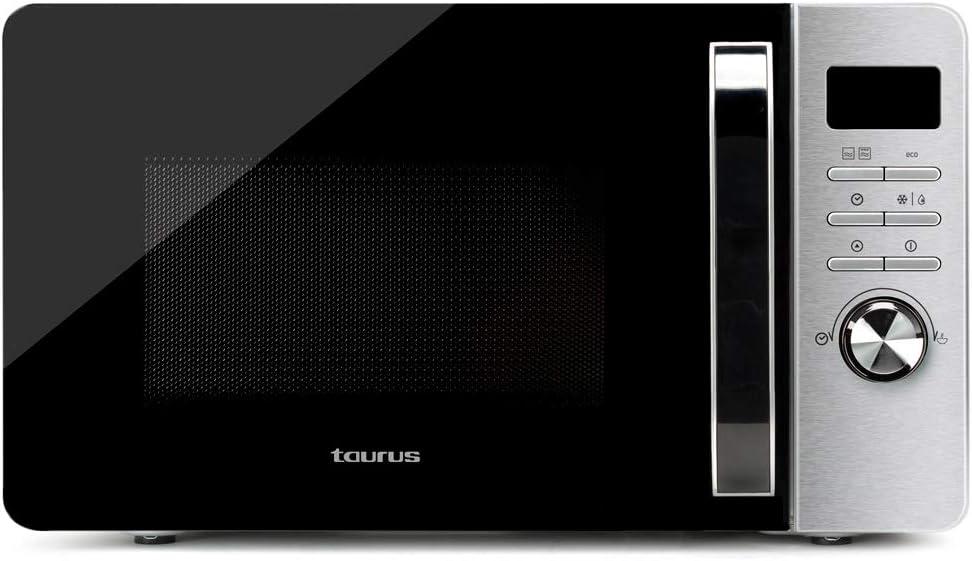 Taurus Microondas Fastwave 25L Digital con Grill, ModoECO, 900W, 1000W, Descongelar, MultiCook, QuickStart, Programable, Auto-clean, Revestimiento Shiny&Clean, 99min, SmartHeat, 455x342x26 mm, Ino