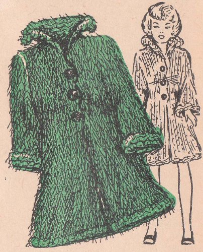 Knitting Mohair Patterns (Knit Barbie Doll Mohair Coat Vintage Knitting Pattern)