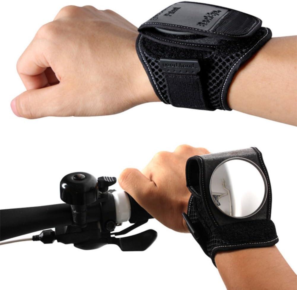 zbtrade 調節可能 反射 自転車 バイク サイクリング バックミラー リストバンド ストラップ - ブラック ワンサイズ
