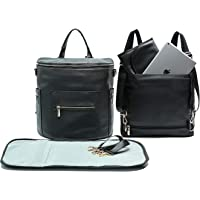 Leather Diaper Bag Backpack by Miss Fong, Baby Bag,Backpack Diaper Bag with Changing Pad,Wipes Pouch,Diaper Bag Organizer,Stroller Straps and Insulated Pockets(Black Convertible)