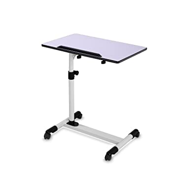 BUREI Adjustable Bedside Table Mobile Laptop Desk Cart For Home Wood BUREI  (White)