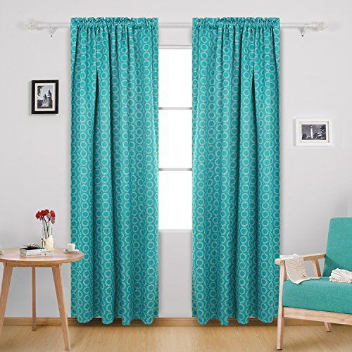 Deconovo Thermal Insulated Blackout Curtains Rod Pocket Curtains for Sliding Glass Door 52W x 84L Inch with Printed Circle Pattern Turquoise 2 - Panel Glass Pattern