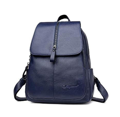 DEERWORD Mujer Bolsos mochila Bolsas escolares Bolsos bandolera Shoppers y bolsos de hombro Cuero de PU Azul