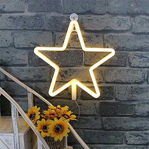 CSKB LED Star Sign Shaped Decor Light,Marquee Light for Chistmas,Kids Room,Wedding Party Decor (Warm White)