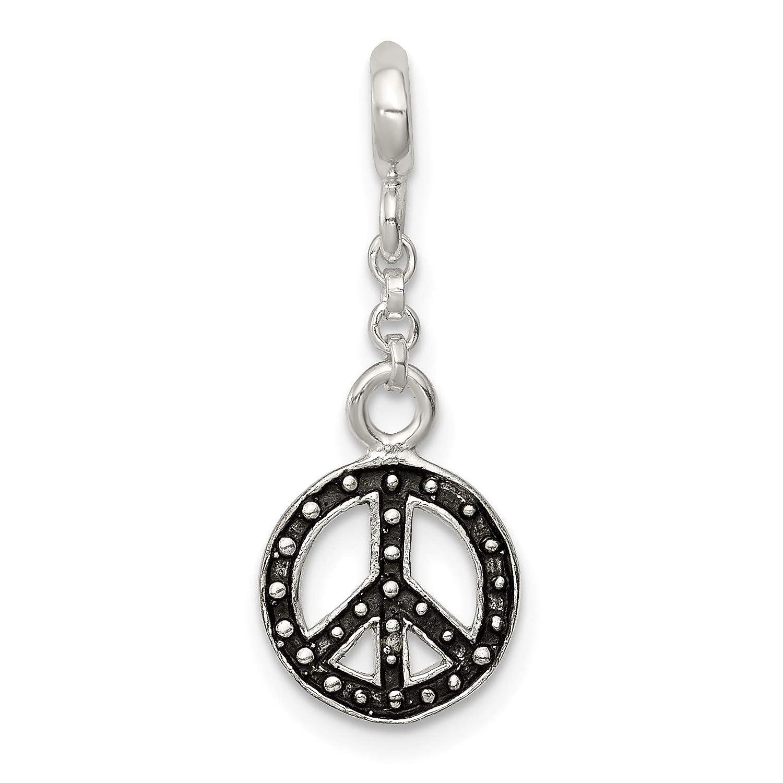 Black Enameled Peace Symbol Dangle Charm Enhancer In 925 Sterling Silver 26x10mm