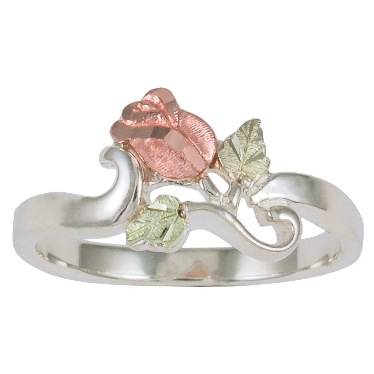 Petite Rose Ring, Sterling Silver, 12k Green and Rose Gold Black Hills Gold Motif, Size 7