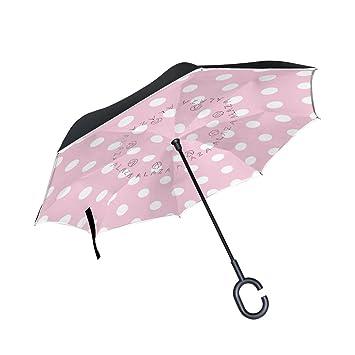 Wamika - Paraguas de Viaje invertido con diseño de Lunares Blancos con Doble Capa Rosa Resistente