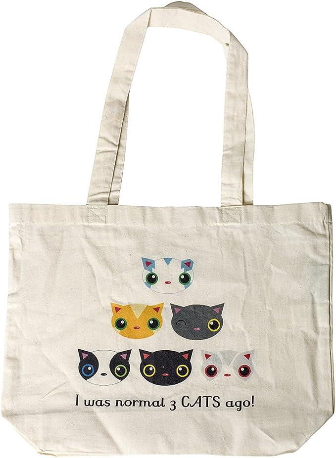 Tres gatos hace, algodón orgánico Shopper bolsas, tela, natural ...