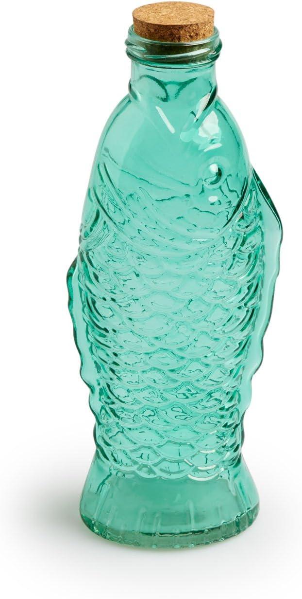 Black Velvet Studio Botella Fish Vidrio y Corcho, Color Verde Claro para Agua o para Zumo, con tapón de Corcho para Evitar olores. 26x9x7 cm.