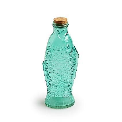 Black Velvet Studio Botella Fish Vidrio y Corcho, Color Verde Claro para Agua o para