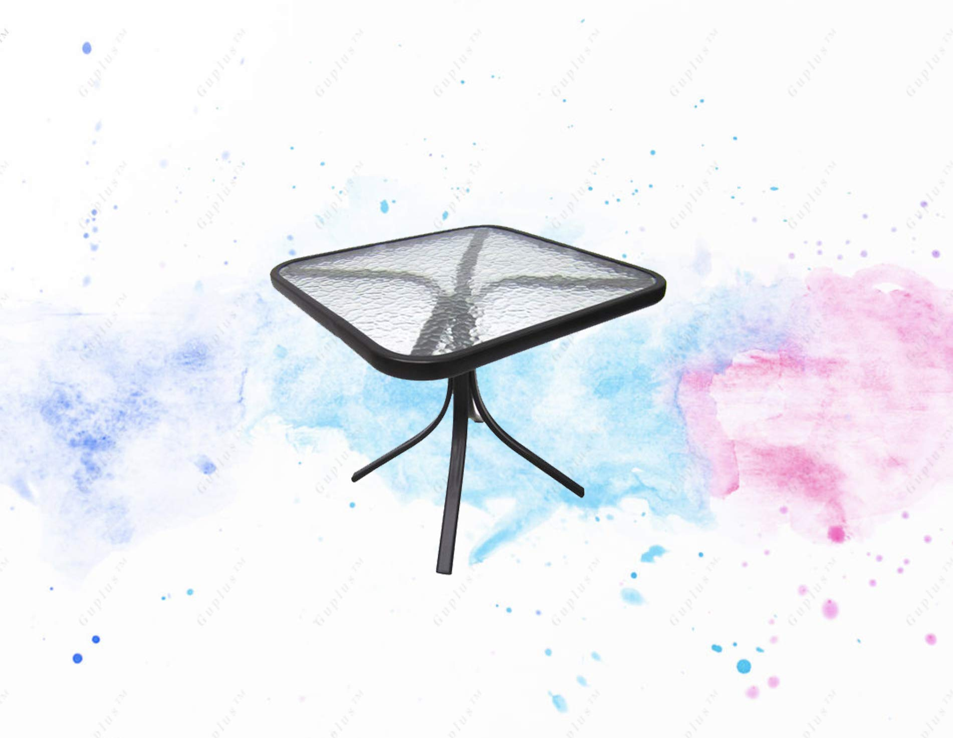 GUPLUS-Square Glass Patio Side Table This Square Glass Top Side Table Makes an Ideal complement to Any Patio, Deck, sunroom or Backyard. It Features a Compact Design so it can Even be Used on a