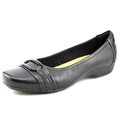 CLARKS Womens Blanche Round Toe Slide Flats, Black, Size 5.5
