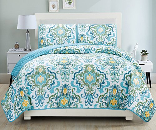 3-Piece Fine printed Quilt Set Reversible Bedspread Coverlet FULL / QUEEN SIZE Bed Cover (Turquoise, Blue, White, Green, Yellow) (Piece 3 Bed)