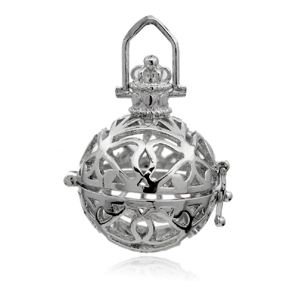 Llamador de ángel Jaula Corona Plateada, en Caja de Regalo (Rosa ...