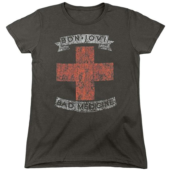 70090790c Amazon.com: Bon Jovi Bad Medicine New Jersey Album Band Women's T ...