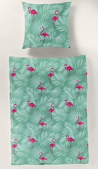 Bierbaum Seersucker Bettwäsche Flamingo 3373 Reine Baumwolle