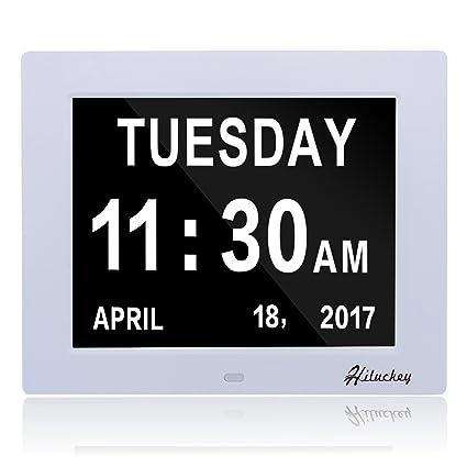 Hiluckey Reloj calendario Reloj Alzheimer | - reloj de pared , muestra claramente el día,