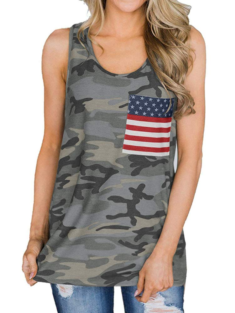 Womens American Flag Racerback Tank Top