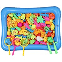 SAPU Kids Pool Fishing Toys Games - Summer Magnetic Floating Toy Magnet Pole Rod Fish Net Water Table Bathtub Bath Game - Learning Education For age 3 4 5 Boys Girls Toddlers Carnival Party Favors